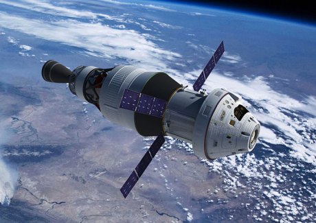 3 NASA Orion spacecraft with ESA provided Service Module in orbit above Earth NASA image posted on SpaceFlight Insider