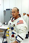 100px Pete Conrad during suit up for the Apollo 12 launch
