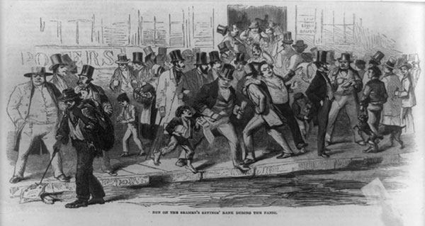 Run on the Seamens Savings Bank during the Panic of 1857